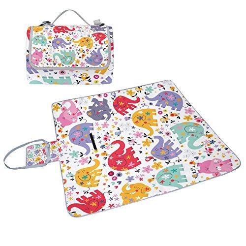 COOSUN - Manta de picnic con diseño de elefantes, práctica alfombra resistente...