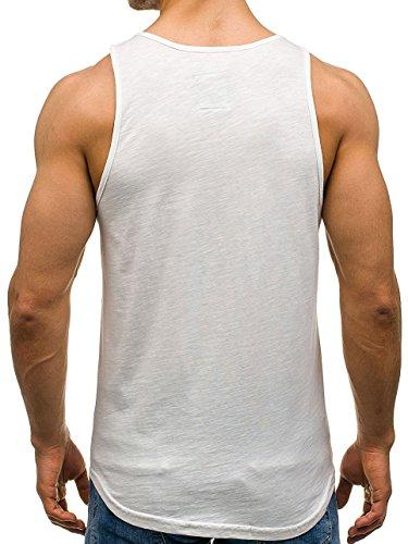 BOLF Herren Tanktop T-Shirt Tee Ärmellos Motiv Sport Army Kurzarm Mix 3C3 Camo Ecru_727