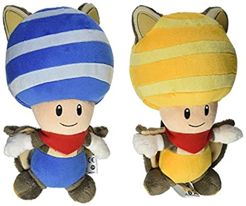 Little Buddy Mario Plush Doll Set of 2 - Flying Squirrel Blue Toad & Yellow Toad by Little Buddy