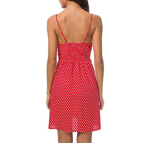 Babysbreath17 Frauen Mini-Punkt-Krawatte Front-Button Oben Spaghetti-Bügel-Mädchen-Kurzschluss-Abend-Kleid L