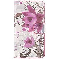 tinxi® Kunstleder Tasche für Samsung Galaxy S5 / S5 NEO Schutzhülle Flipcase Schale Cover Etui Skin Standfunktion mit Karten Slot lila Blume