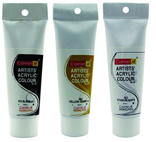 Camlin Kokuyo Acrylic Tubes 40ml- Yellow Ochre, Black & Titanium White