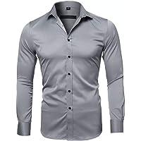 Gdtime Chemise pour Homme sans Repassage Manches Longues Slim Fit Uni Chemises Casual Infroissable