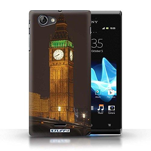 Kobalt® Imprimé Etui / Coque pour Sony Xperia J (ST26i) / Tower Bridge conception / Série Londres Angleterre Big Ben