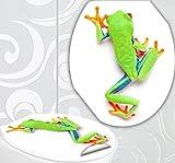 StickerProfis WC Sitz Aufkleber Frosch Design Folie Dekor für Toilettendeckel Klodeckel Incl. 2 Fliesenaufkleber