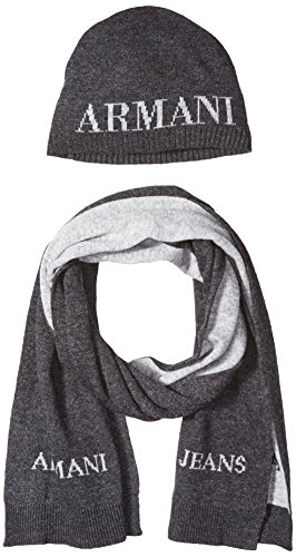 Armani Jeans Beanie & Scarf Herren Gift Set Grau, Grau, One Size (Armani Schal)