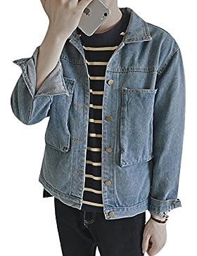 Hombre Casual Abrigo De Vaquero Mangas Largas Denim Jacket Suelto Chaqueta De Mezclilla