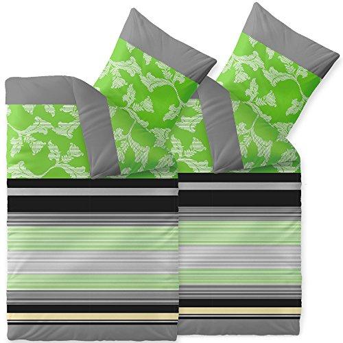 aqua-textil Bettwäsche 4tlg 155x220 Baumwolle Set Kissen Bettbezug Reißverschluß atmungsaktiv Garnitur 80x80 Kissen Öko-tex Streifen natur blau beige türkis 0011780 Trend Imani (Natur Beige Streifen)