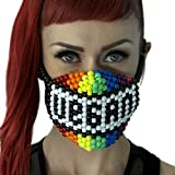 Kandi Gear Mascara Kandi de Arcoiris Vegana, mascara rave, mascara de halloween, mascara de cuentas, mascara para festivales musicales y fiestas