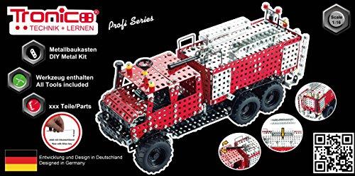 Tronico Metallbaukasten Feuerwehr Unimog 1089 Teile 1:16 voll funktionsfähig 4 farbige Aufbauanleitung mit Werkzeug Profi Serie, ab 12 Jahren rcee