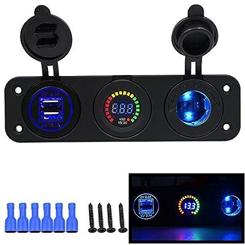 Auto Switch Panel, Happytop Dual USB chargeur de téléphone adaptateur d'alimentation DC 12V/24V d'éclairage à LED, allume cigare, voltmètre, Blue (Combined)