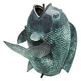 Design Toscano Riesiger asiatischer tanzender Fisch, Wasserspeiende Gartenstatue in Bronzeguss