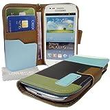 StyleBitz NOUVEAU élégant étui portefeuille en cuir PU pour Samsung Galaxy S4, S IV, i9500 avec tissu de nettoyage LMC (vert, bleu et marron)