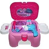 HZY Juguete Tocador Silla de Multifuncional Mini Secador Electrico de Almacenaje Como Cumpleaños Regalos para Hijos Color Rosa + Púrpura