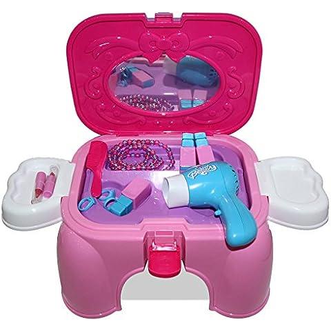 HZY Juguetes Tocador Silla de Multifuncional Mini Secador Electrico de Almacenaje Regalos para niños (rosa + púrpura)