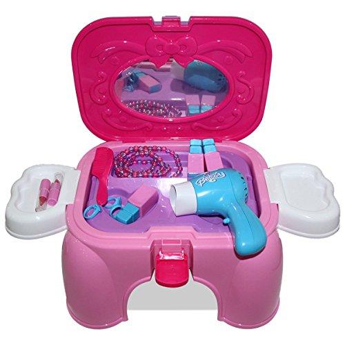 Preisvergleich Produktbild HZY Pink Spielzeug Schönheits Set Einem Hocker Carrycase Mit Pretty Zubehör Geburtstagsgeschenk für Kinder