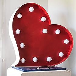 LÁMPARA CORAZÓN ILUMINADA. Personaliza los colores del corazón y el tamaño. Bombillas led.