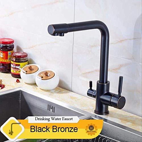 BAIRGBN Wasserhahn Luxus Chrom Messing Reines Wasser Küchenarmatur Doppelgriff Heißes Und Kaltes Trinkwasser Wasserhahn Brasilien Schwarz Bronze Wasserhahn -