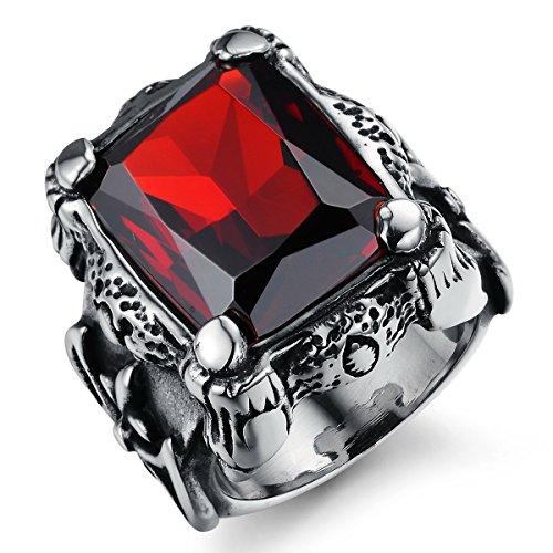 Smarstar , Bijoux Gothique Bague Femme Homme Acier Inoxydable Cristal  incrusté Rubis Rouge Zircon , Taille 54