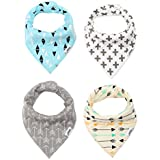 Baby Bandana Drool Bibs with Adjustable Snaps for Unisex Baby by Loriver - Absorbent Cotton Front Dribble Bibs(4 Pack Gift Set)
