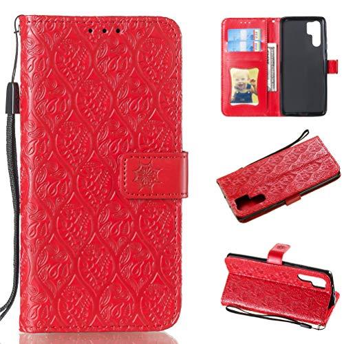 für Huawei P30 Pro Hülle Rebe Blume Leder Handyhülle Flip Case Tasche Wallet Kunstleder Bookstyle Brieftasche Schutzhülle Handytasche Magnetisch Kartenfach Ständer Etui Rot