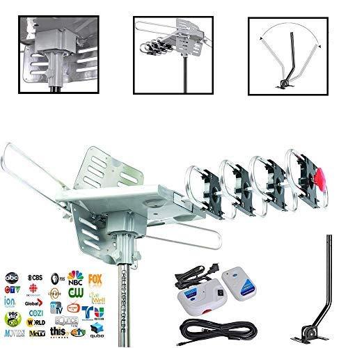 Cables Direct Online HD-TV-Antenne mit Dachstativ-Halterung, 360 Grad drehbar, OTA-verstärkt, 120 Mile mit 360 Grad drehbar, unterstützt UHF VHF 1080P Kanäle