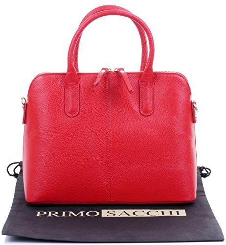Italiano martellata Bowling stile borsetta Tote Grab Bag o borsa a tracolla in pelle.Include una custodia protettiva marca Rosso