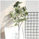 VNEIRW 1PC Künstlich Eukalyptus Pflanze Zweig eukalyptus blätter Deko künstliche Silber-Dollar-Eukalyptusblätter für Garten, Hochzeit, Haus, Außen- und Innendekoration (Grün)
