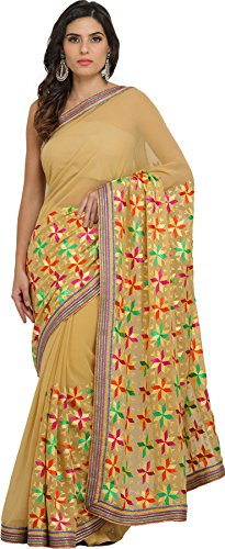 Exotic India New-Wheat Phulkari Saree from Punjab with Embroidered Flowe - Beige