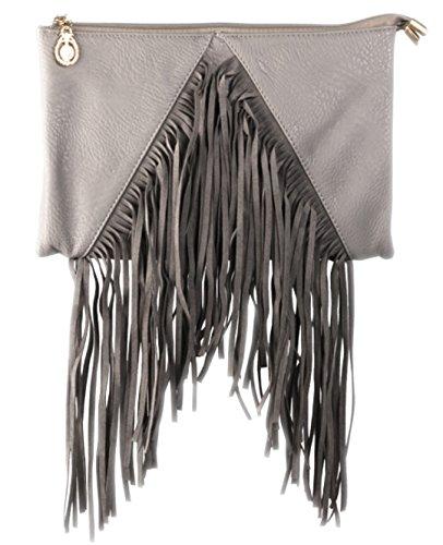 Girly HandBags , Damen Clutch Grau grau - Patent-leder-wildleder-clutch