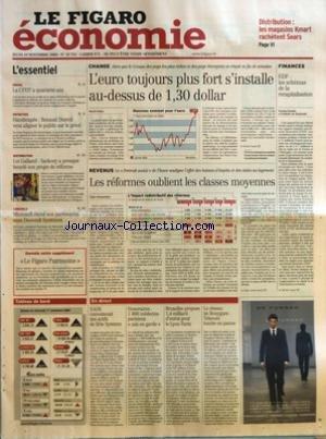 FIGARO ECONOMIE (LE) [No 18751] du 18/11/2004 - DISTRIBUTION - LES MAGASINS KMART RACHETENT SEARS - SOCIAL - LA CFDT A QUARANTE ANS - ENTRETIEN - HANDICAPES - RENAUD DUTREIL VEUT ALIGNER LE PUBLIC SUR LE PRIVE - DISTRIBUTION - LOI GALLAND - SARKOZY A PRESQUE BOUCLE SON PROJET DE REFORME - LOGICIELS - MICROSOFT ETEND SON PARTENARIAT AVEC DASSAULT SYSTEMES - L'EURO TOUJOURS PLUS FORT S'INSTALLE AU-DESSUS DE 1,30 DOLLAR PAR MURIEL MOTTE - LES REFORMES OUBLIENT LES CLASSES MOYENNES PAR CLAIRE BOMME