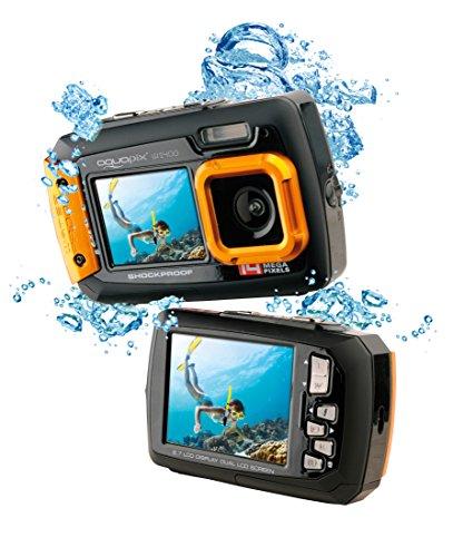 Easypix W1400 Active - Cámara de fotos subacuática (doble pantalla, 20 MP,zoom 4x, sumergible 3 m), color negro amarillo