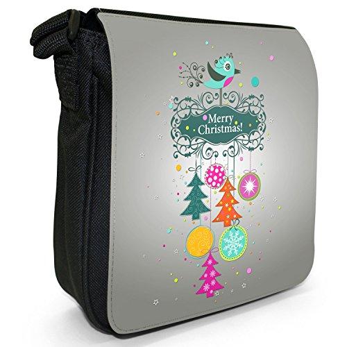 Merry Christmas Decorazioni di Natale piccolo nero Tela Borsa a tracolla, taglia S Robin Winter Bird Baubles