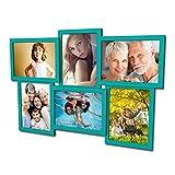 604 Fotogalerie für 6 Fotos 13x18 cm - 3D Optik - Bilderrahmen Bildergalerie Fotocollage Rahmenfarbe Türkisgrün