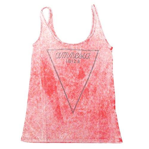Amnesia Ibiza Canotta Vintage Donna con Logo triangolo Rosa
