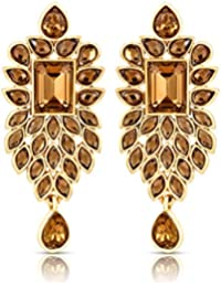 Sapna FX Antique Leaf Flora Gold Plated Earrings With Crystal Stone-431 Gold