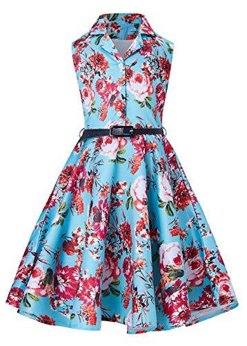 RAISEVERN Mädchen Ärmelloses Freizeitkleid Kinderferien Party Blumendruck Kleider mit Gürtel 5-13 Jahre Retro Style -