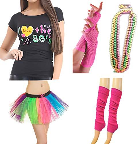 Regenbogen Fischnetz Handschuhe - Islander Fashions Damen Neon 80S T