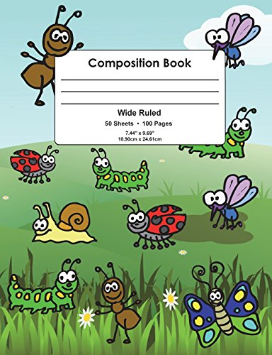 Composition Book: Colorful Insects Design, Wide Ruled School Notebook, 100 pages, 7.44