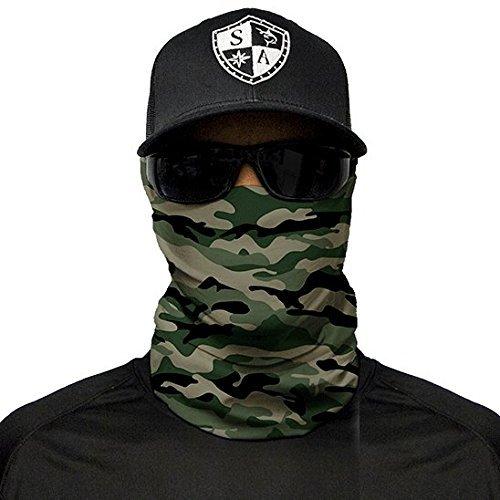 SA Fishing Face Shields ** 40+ Designs verfügbar ** Qualitäts Bandana/Multifunktionstuch/Schlauchtuch/Halstuch aus Stoff & SPF 40 - Face Masks von SA Company, Green Military Camo