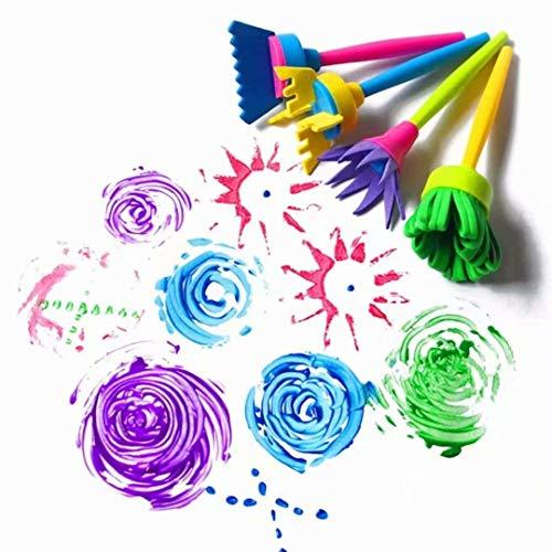 Enfants Bébé Joint Éponge Rouleau Peinture DIY Brosse Dessin Sponge Brush Pinceau Jouets Dessin Jouets