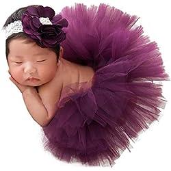 bebe disfraz fotografía accesorios prop - Sannysis bebé niñas y niños lindo ropa de bebe recien nacido 0-4 meses conjuntos tejido para fotografía 2pcs vestidos + diadema (Púrpura)