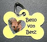 Creative Things (by Anja Betz) Anhänger Knochen fürs Halsband personalisiert mit Bild ! Name Telefonnummer Adresse einseitig bedruckt Hundemarke f. Hundehalsband Katzenhalsband Kette DogTag