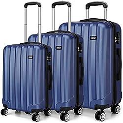 Kono Set de 3 valises de Voyage de PC| avec Serrure à Combinaison| poignée télescopique | roulettes 360° - diverses Couleurs au Choix