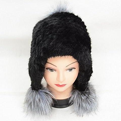 ZYONG*D586 Invierno Frau Neu Echt Hut cálida Kappe /Verdadero sombrero de piel tejida de visón