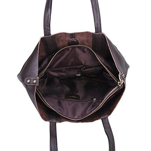 Damero Pelle delle donne Tote Bag / borsa con tracolla e fodera rimovibile, nero Caffè