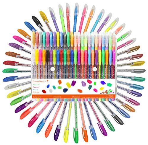 Bolígrafos de Gel, Incluye Brillo, Neón, Pastel, Metálico Para Scrapbooking, Colorear, Dibujar, Dibujar y Artesanal, Pack de 48,1.0mm