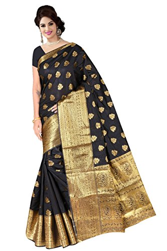 Boutique On Palm Bollywood Style New Generation Concept Party Wear Saree Banarasi Silk Sarees (Black Jacquard Make Flower Pallu)