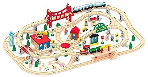 Leomark Deluxe Wooden Train Set 130pcs Railway track Magnetic Train Car Model Kids Childrens Play Set