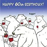 Lustige Geburtstagskarte mit Eisbären und Wein von Twizler, zum 60. Geburtstag, humorvolle Karte